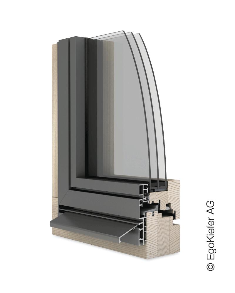 Holz/Aluminium Fenster EgoKiefer AG EgoSelection flächenbündig