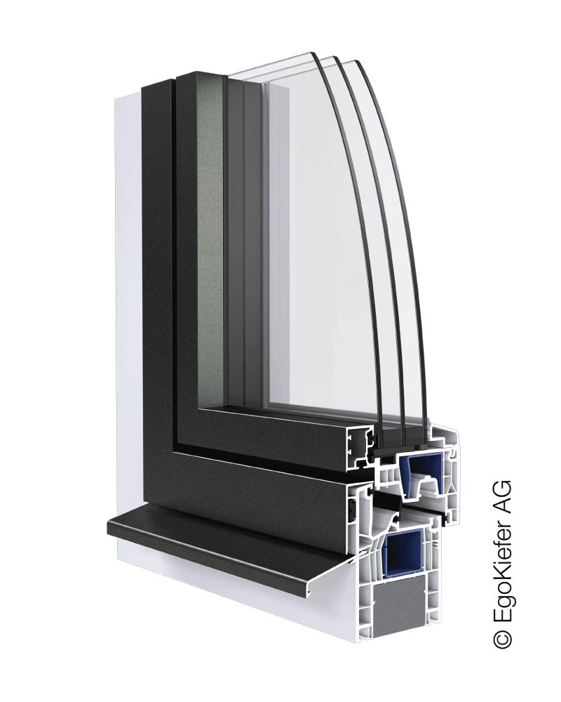 Kunststoff_Aluminium-Fenster EgoKiefer AG EgoAllround flächenbündig